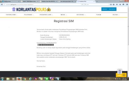 setelah dirasa beres, kita klik oke dan dapat kode booking seperti ini. selain di sini, kode booking ini dikirim ke email